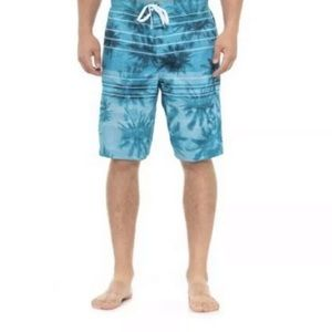 Speedo Swim Trunks Blue Tropical Print 1 Pocket, S